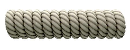 cylindrical: Un pezzo di corda avvolta intorno a qualcosa cilindrica su uno sfondo isolato