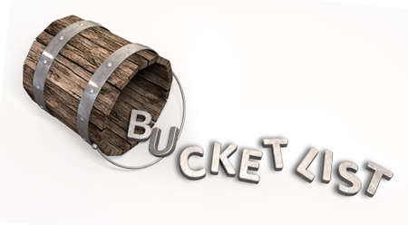 trinkets: A toppled over vintage bucket with letter trinkets spilling out spelling the word bucket list on an isolated background