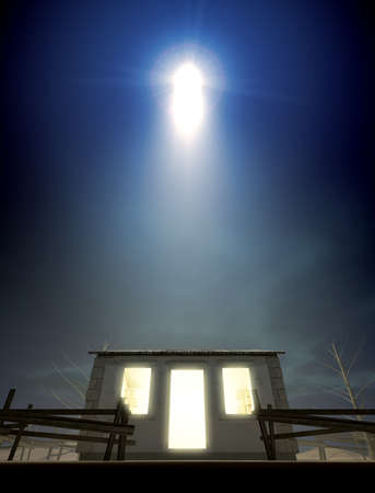 A depiction of the nativity scene of christs birth in bethlehem with the isolated run down stable being lit by a bright star Stock Photo - 16002080