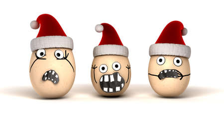 3 made up egg characters with stuck on features and human emotion that are wearing red christmas hats