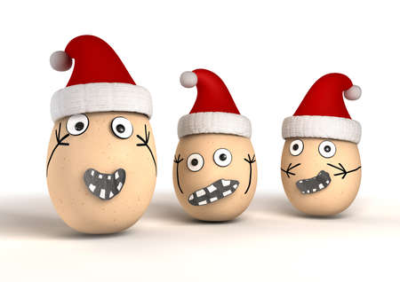 melodramatic: 3 made up egg characters with stuck on features and human emotion that are wearing red christmas hats