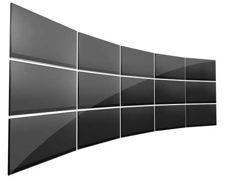Un mur de quinze télévision à écran plat noir disposées en forme de courbe sur un fond isolé