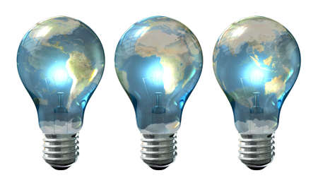 A series of three regular lit light bulbs with the glass wrapped in a different third of a world map on an isolated background Stock Photo - 16135581