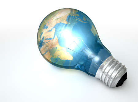 A regular lit light bulb with the glass wrapped in a world map showing africa and asia lying on an isolated background Stock Photo - 16135579