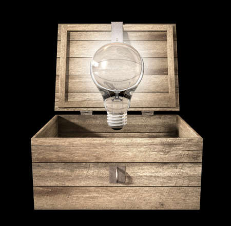 An open rough wooden planked box with a hinged lid and a hasp with a regular illuminated lightbulb above it on an isolated background Stock Photo - 16236554