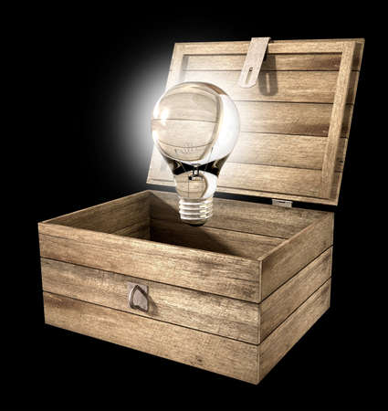 An open rough wooden planked box with a hinged lid and a hasp with a regular illuminated lightbulb above it on an isolated background Stock Photo - 16236594