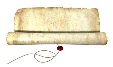 unwinding: An old weathered scroll type paper unwinding with string and a seal in front on an isolated background