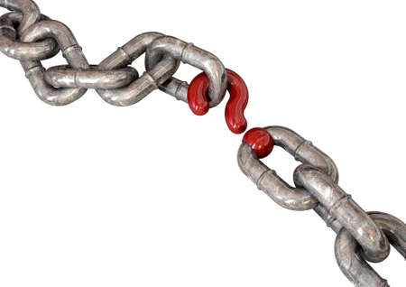 A worn chain with a question mark as one of its links on an isolated background photo