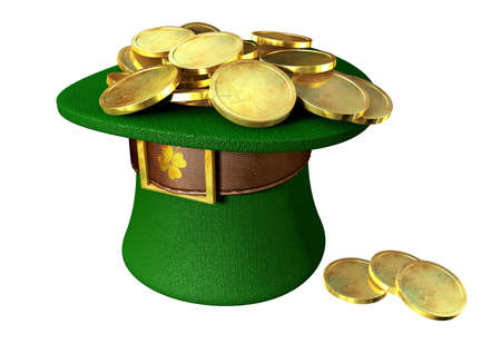 saint paddy's: A green material leprechaun hat with a brown leather band with a gold buckle filled with gold coins on an isolated background