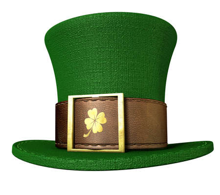 A green material leprechaun hat with a brown leather band emblazened with a gold shamrock and buckle on an isolated background photo