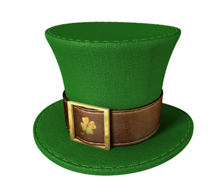 green and gold: A green material leprechaun hat with a brown leather band emblazened with a gold shamrock and buckle on an isolated background