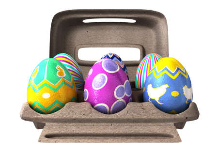 6 differently decorated easter eggs in an everyday egg box on an isolated background  photo