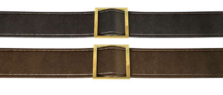 straps: Two side-by-side seamed leather strips in black and brown threaded through a gold belt buckle on an isolated background