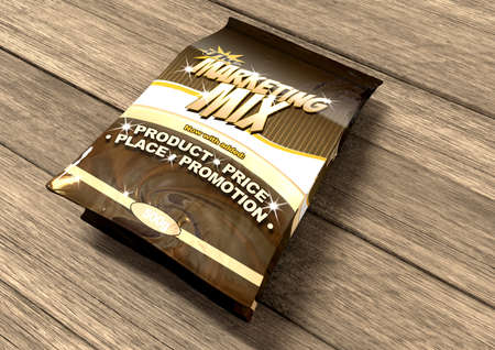 marketing mix: A bag of a concept product called Marketing Mix thats made up of the ingredients, product, price, place and promotion on a wood surface