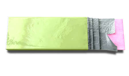 protruding: A non branded bubble gum with a green wrapper and four foiled sticks of gum protruding out on an isolated background