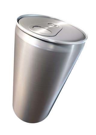 brushed aluminium: A perspective view of a regular brushed aluminium soda can on an isolated backgound