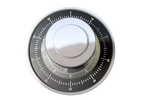 combination: A regular metal safe combination dial on an isolated background