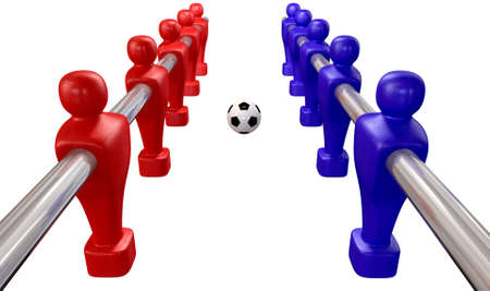 Foosball players of a blue and red team competing for a soccer ball on an isolated background Stock Photo - 16420429