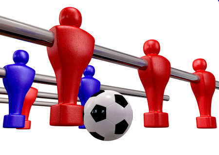 Foosball players of a blue and red team competing for a soccer ball on an isolated background Stock Photo - 16420438