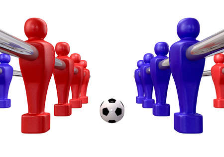 Foosball players of a blue and red team competing for a soccer ball on an isolated background Stock Photo - 16420437