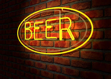 irradiate: An illuminated orange neon sign with the word beer on it mounted on a brick wall Stock Photo
