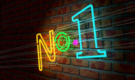 irradiate: An illuminated colorful neon sign with the word Number One on it mounted on a brick wall