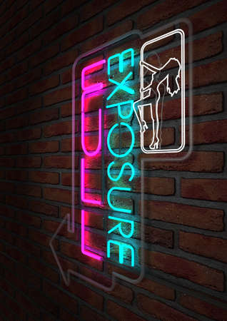 strip club: An illuminated neon sign for a strip club mounted on a brick wall incorporating an arrow, a dancing girl and the words full exposure  Stock Photo
