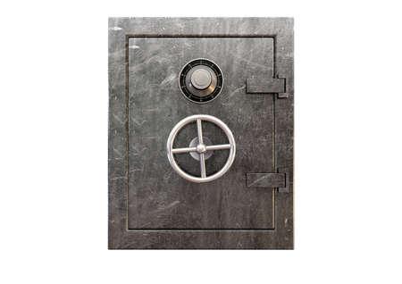 Een regelmatige metalen kluis met een combinatie wijzerplaat en een handvat op een geà ¯ soleerde achtergrond
