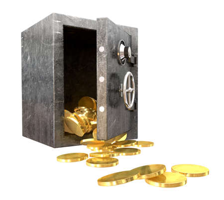 compromised: A regular metal safe with an open door spilling out gold coins an isolated background