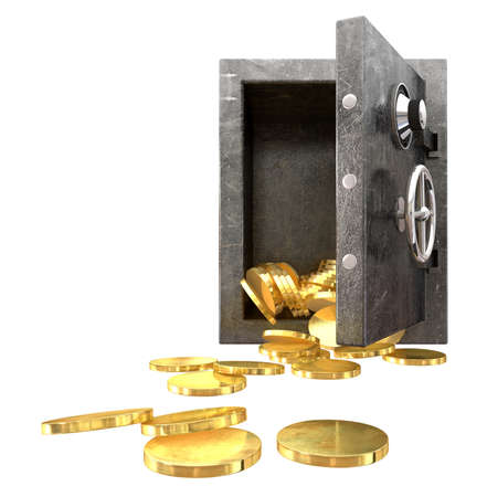 A regular metal safe with an open door spilling out gold coins an isolated background Stock Photo - 16420441