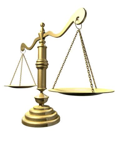 balanza justicia: Una vista de un PERSPECTIVA oro viejo escala escuela justicia en un fondo aislado