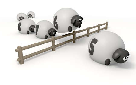 methods: A cartoon depiction of the saying counting sheep on an isolated background Stock Photo