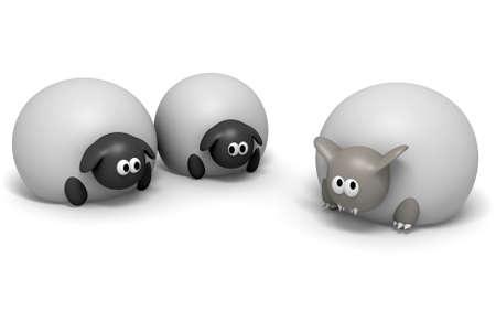 deceptive: Een cartoon afbeelding van het gezegde een wolf in schapen kleding op een geïsoleerde achtergrond