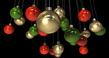 suspend: Regular gold red and green christmas baubles hanging by a string on an isolated background