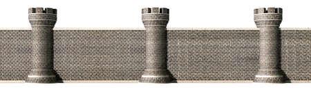 edad media: Una vista frontal de una pared de ladrillo gótico separados por torretas equidistantes en un fondo aislado Foto de archivo
