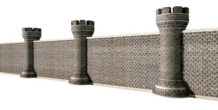 seperated: A perspective view of a gothic brick wall seperated by evenly spaced turrets on an isolated background Stock Photo