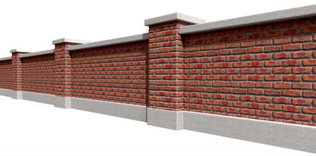 An perspective view of a regular domestic facebrick wall with plaster cappings on an isolated background