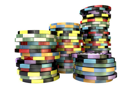 wager: Stacks of differently coloured casino chips on an isolated background