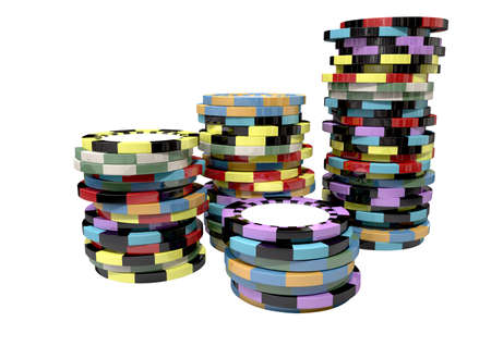 casino tokens: Stacks of differently coloured casino chips on an isolated background