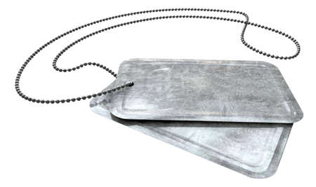 A regular set of blank military dog tag identity tags attached to a chain on an isolated background photo