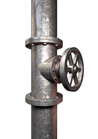 A metal shutoff valve attached to a metal pipe with bolts on an isolated background photo