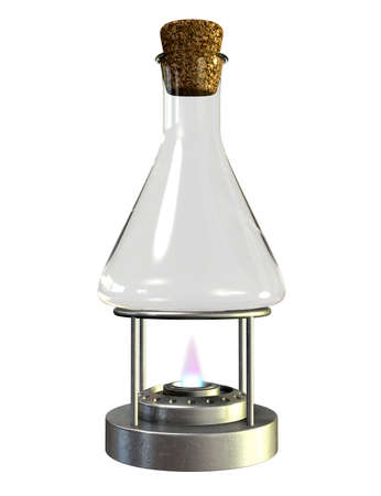 burner: A regular empty chemistry bottle sealed with a cork on a lit bunsen burner on an isolated background Stock Photo