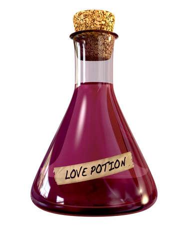 pocion: Una botella química de cristal ordinario lleno de un líquido rosado llamado filtro de amor y sellada con un corcho en un fondo aislado