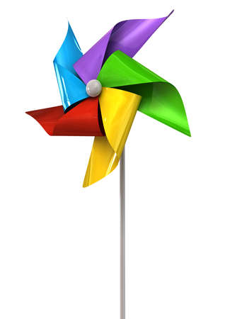 vane: A perspective view of a regular toy pinwheel windmill with five differently colored vanes on a stick on an isolated background