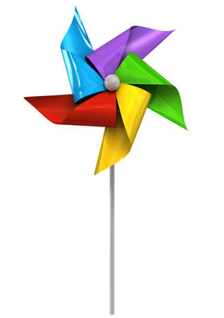 A front view of a regular toy pinwheel windmill with five differently colored vanes on a stick on an isolated background Stock Photo - 16685560