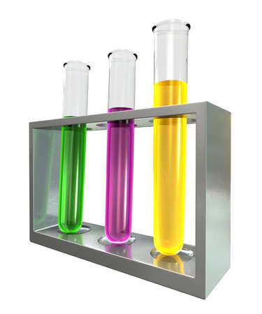 yellow yellow lab: A metal stand holding three laboratory test tubes with pink, green and yellow liquids on an isolated background