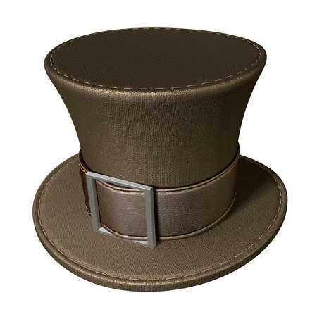 A brown material mad hatters hat with a brown leather belt  and buckle on an isolated background photo