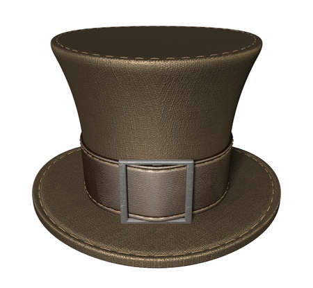 A brown material mad hatters hat with a brown leather belt  and buckle on an isolated background Stock Photo - 16747529