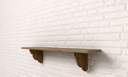 A perspective view of a regular cleared wooden shelf with wooden brackets on an white brick wall with copy space photo