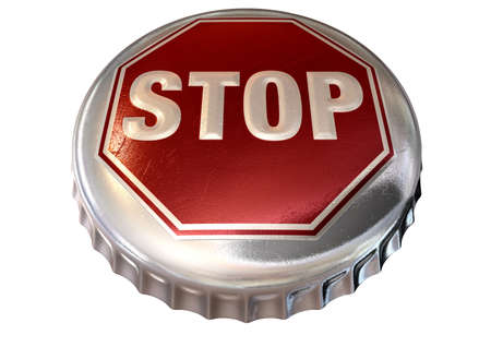 bandwidth: A regular bottle cap with a stop sign in red embossed on the top representing bandwidth cap or alcohol limits on an isolated background